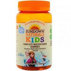 Sundown Naturals Kids, Мультивитаминные жевательные таблетки, Холодное сердце, клубника, арбуз и малина, 60 таблеток