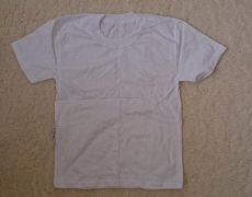 Белая футболка из кулирки (размерная сетка на фото 2)