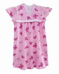 Сорочка с рюшей розовый+бабочки К15-4