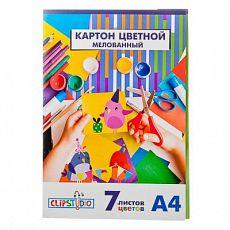 ClipStudio Набор картона цветного А4, 7л. 7 цветов, мелованный картон